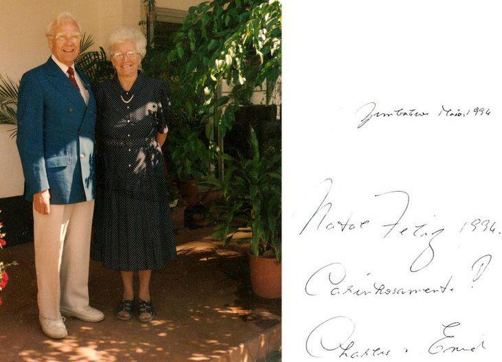 Natal Feliz 1994. Carinhosamente! Charles e Enid